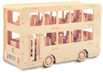 Woodcraft Dřevěné 3D puzzle autobus double Decker