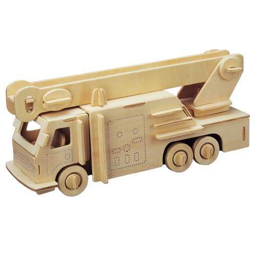 Dřevěné 3D puzzle - dřevěná skládačka auta - Hasiči P103