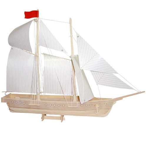 Woodcraft Dřevěné 3D puzzle loď škuner