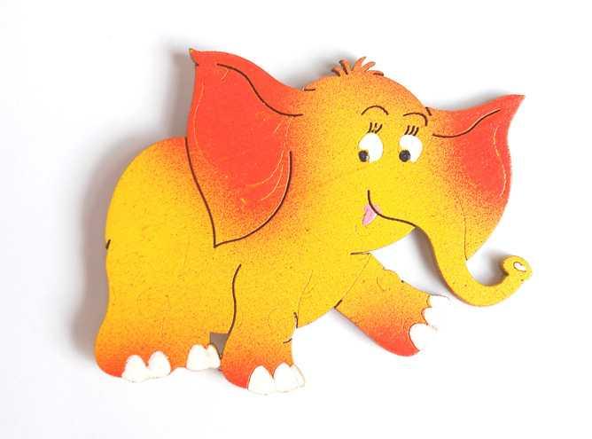 Dřevěné dekorace - dřevěné magnetky - magnetka Slon oranžový