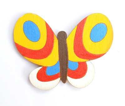 Dřevěné dekorace - dřevěné magnetky - magnetka Motýl žlutý