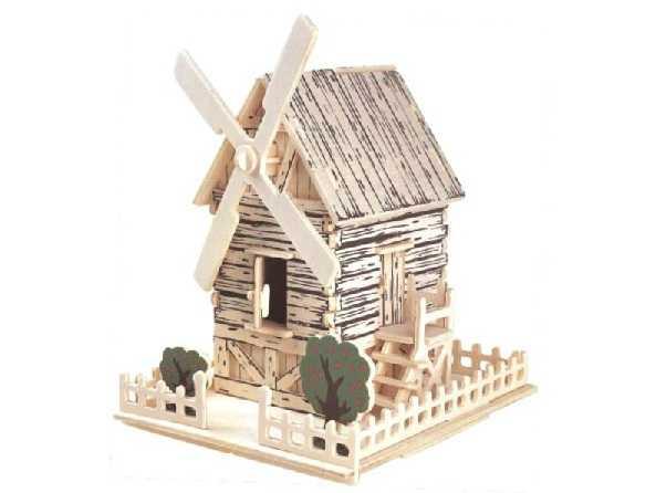 Dřevěné skládačky 3D puzzle - Větrný mlýn Ph00