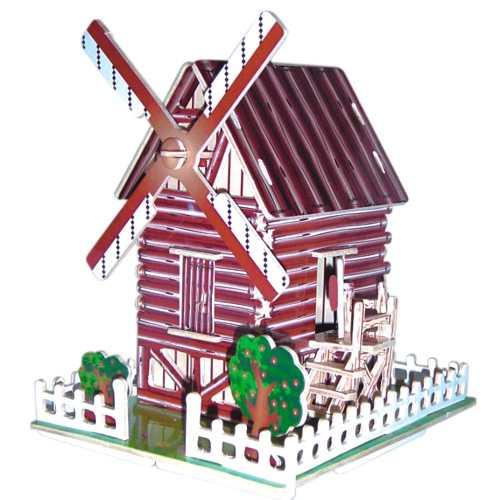 Woodcraft Dřevěné 3D puzzle slavné budovy větrný mlýn