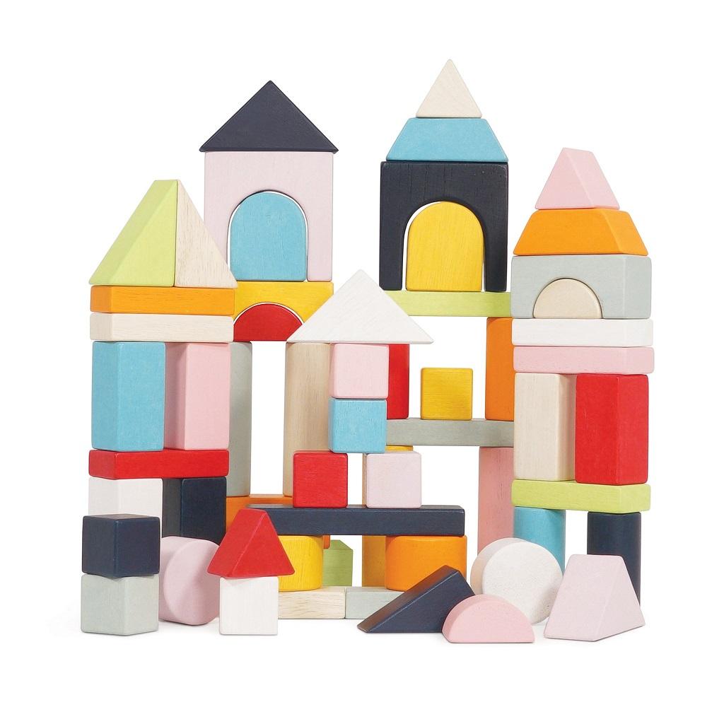 Le Toy Van Petilou Barevné kostky v bavlněné tašce 60 ks