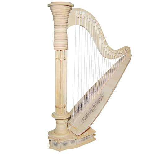 Woodcraft Dřevěné 3D puzzle harfa