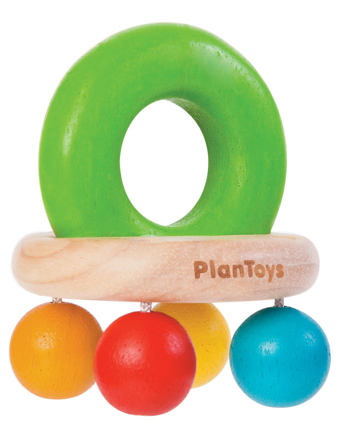 PlanToys Chrastítko s korálky barevné
