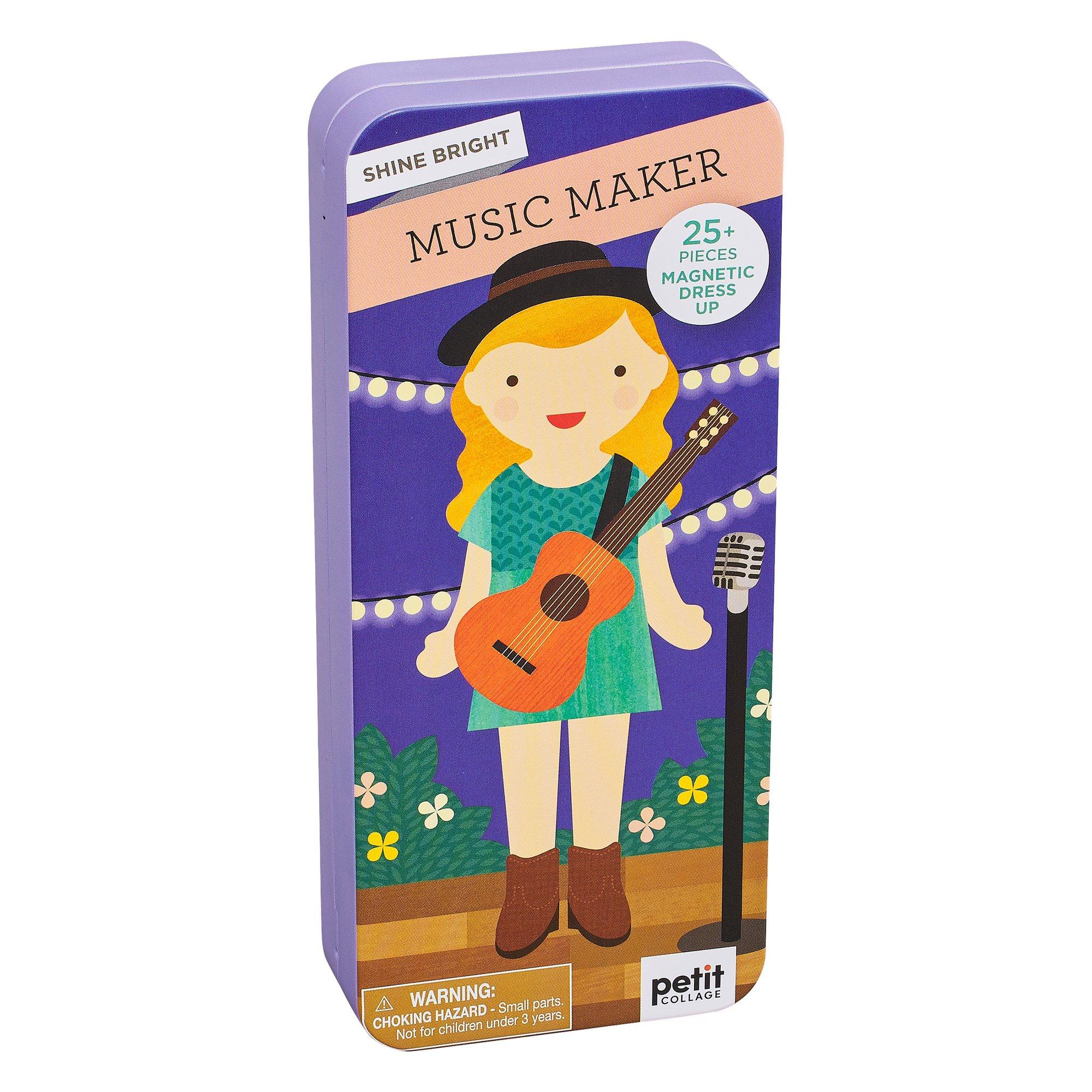 Petitcollage Magnetické puzzle Muzikantka - poškozená kovová krabička