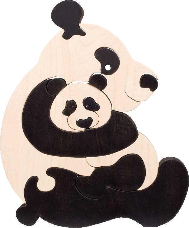 Dřevěné vkládací puzzle z masivu - vkládačka - Pandy