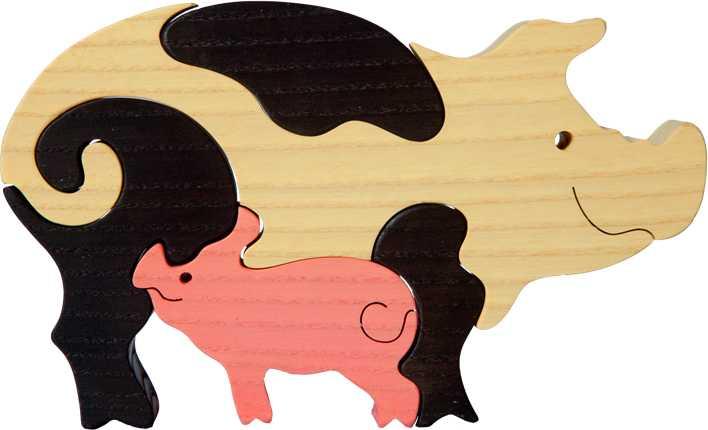 Dřevěné vkládací puzzle z masivu - Prasátko se selátkem