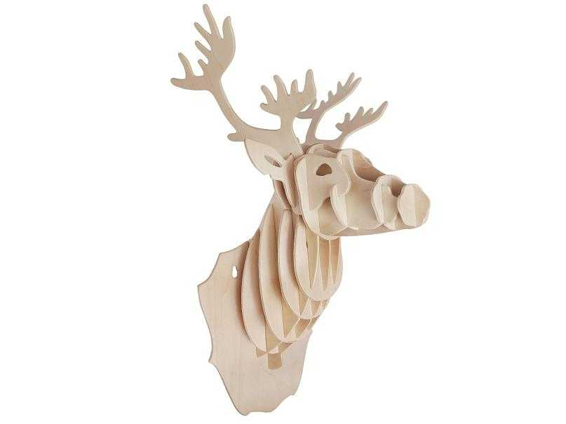 Woodcraft Dřevěné 3D puzzle hlava jelena
