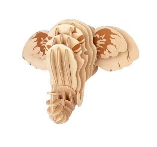 Woodcraft Dřevěné 3D puzzle hlava slona