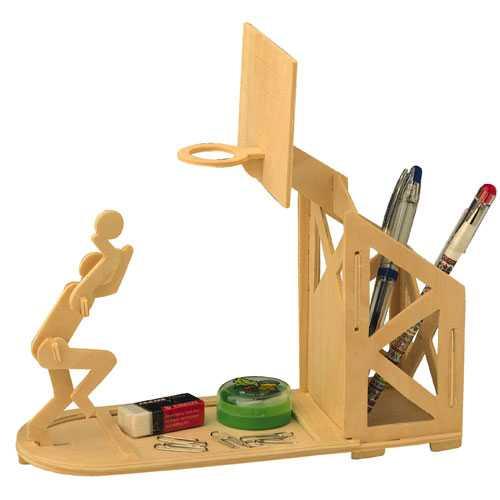 Woodcraft Dřevěné 3D puzzle stojánek na tužky basketbal