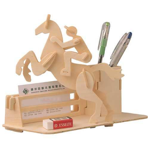 Woodcraft Dřevěné 3D puzzle stojánek na tužky dostihy
