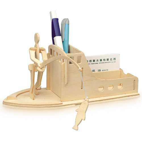 Woodcraft Dřevěné 3D puzzle stojánek na tužky rybaření