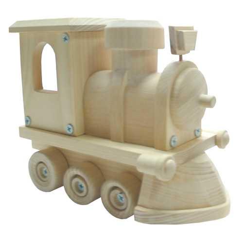 Dřevěné hračky - Přírodní dřevěné auto - Lokomotiva