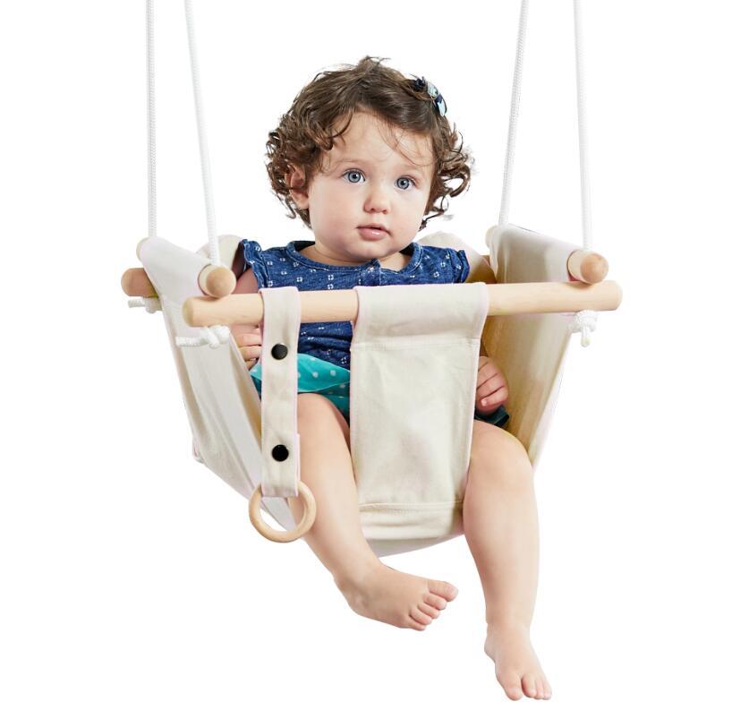 Dvěděti Dětská textilní houpačka 100% bavlna béžová