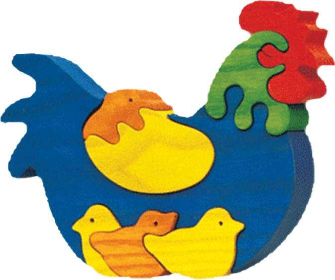 Dřevěné vkládací puzzle z masivu - Slepička s kuřátky