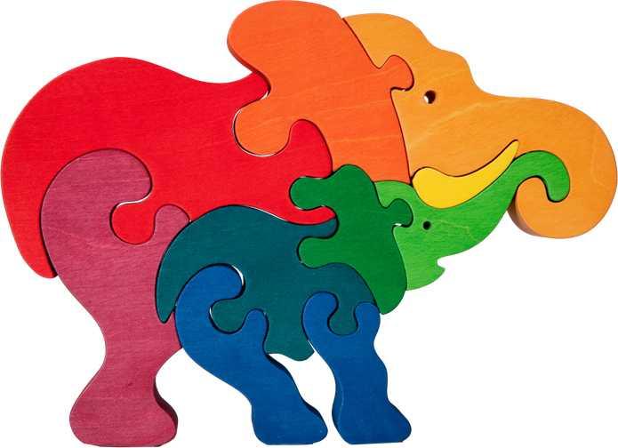 Dřevěné vkládací puzzle z masivu - vkládačka Slon se slonem