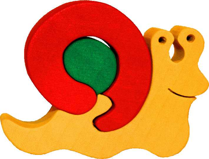 Fauna Dřevěné vkládací puzzle z masivu malý šnek