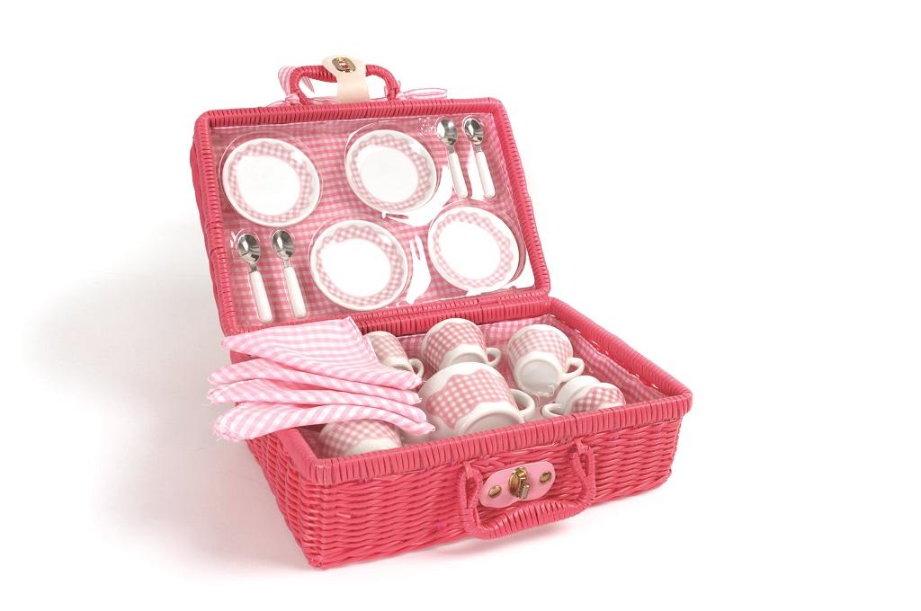 Tidlo Nádobí na piknik v růžovém košíku