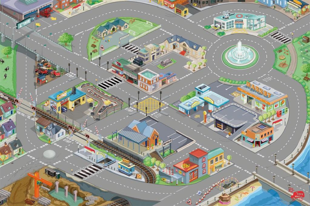 Le Toy Van Hrací koberec PLAYMAT město 150x100 cm