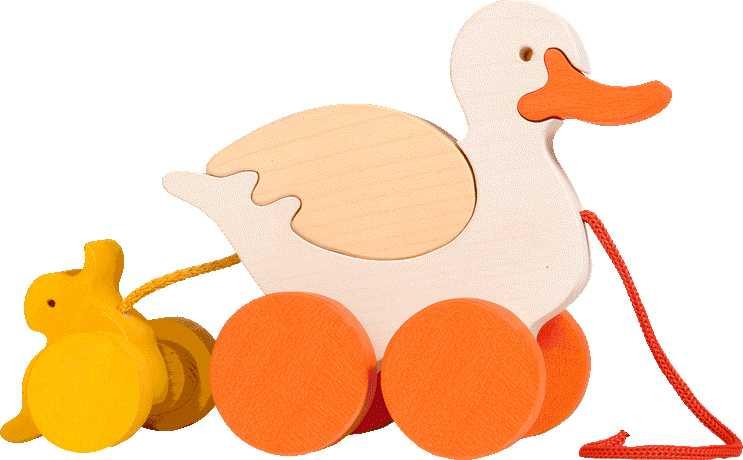 Fauna Dřevěné tahací hračky z masivu kačena s káčátkem