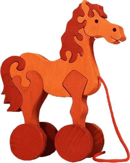 Fauna Dřevěné tahací hračky z masivu koník