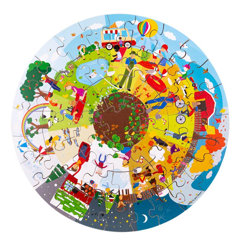 Bigjigs Toys Kulaté podlahové puzzle Čtyří roční období 50 dílků