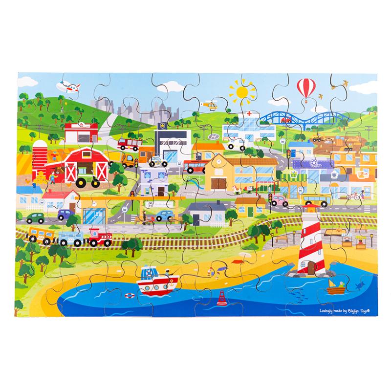Bigjigs Toys Podlahové puzzle Město 48 dílků