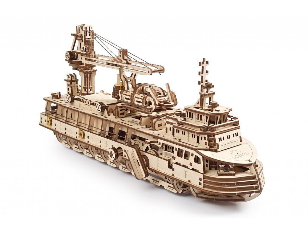 Ugears 3D dřevěné mechanické puzzle Výzkumný parník
