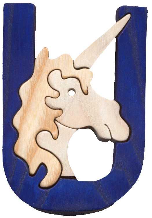 Dřevěné vkládací puzzle - Abeceda písmeno U jednorožec
