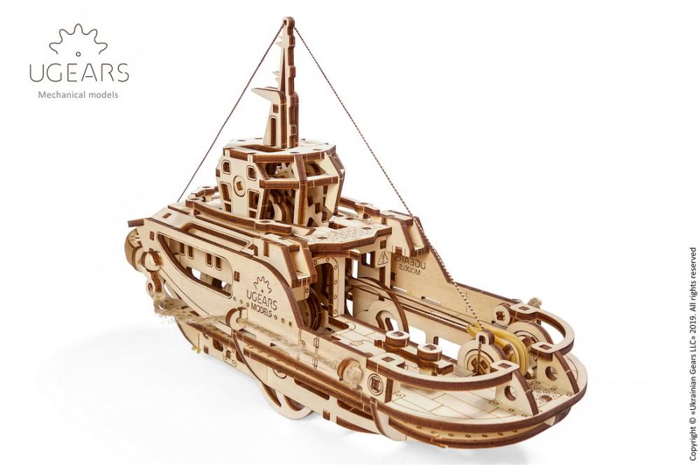 Ugears 3D dřevěné mechanické puzzle Remorkér