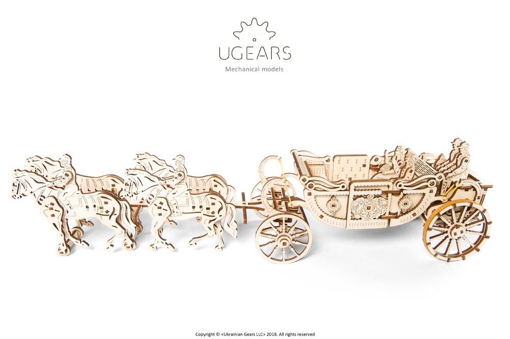 Ugears 3D dřevěné mechanické puzzle Královský kočár