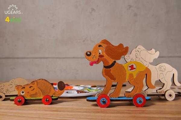Ugears 3D dřevěné puzzle Kočka a pejsek