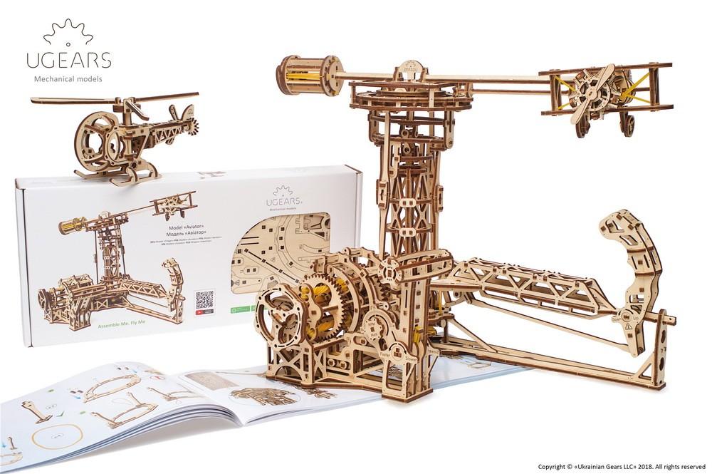 Ugears 3D dřevěné mechanické puzzle Létající stroje