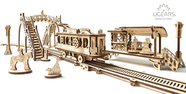 Ugears 3D dřevěné mechanické puzzle Tramvajová linka