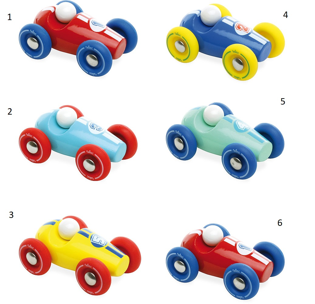 Vilac Dřevěné závodní mini auto 1 ks červené s modrými koly