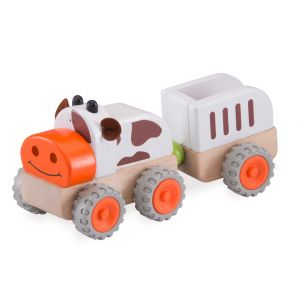 Wonderworld Dřevěný mini traktor kravička