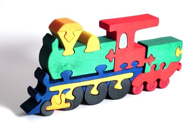 Fauna Dřevěné vkládací puzzle z masivu lokomotiva