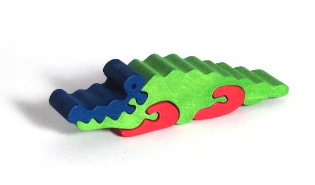 Fauna Dřevěné vkládací puzzle z masivu krokodýl