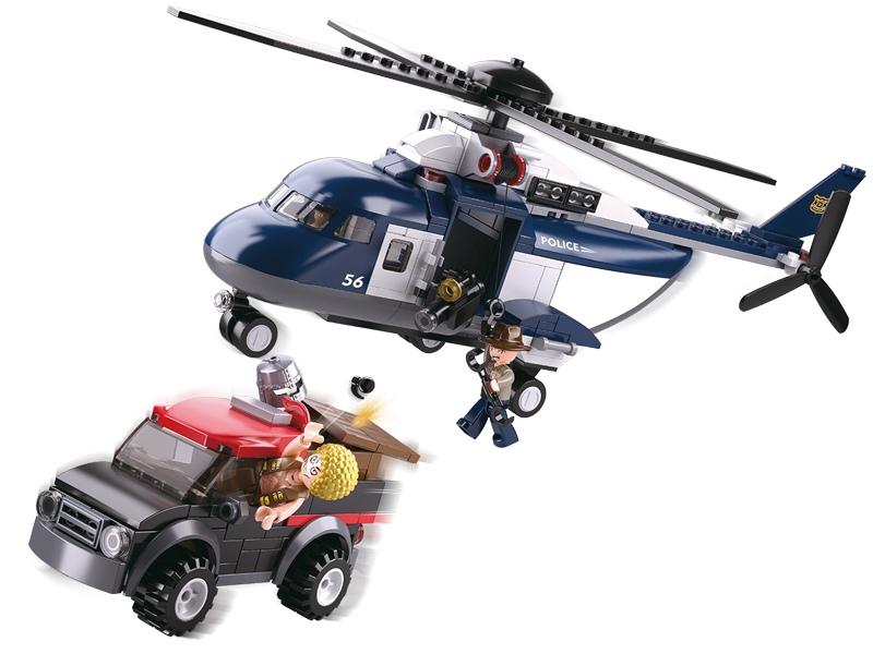 Sluban Policie M38-B0656 Velká helikoptéra a zloděj v autě