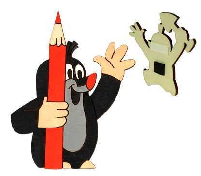 DoDo Dřevěná dekorační magnetka Krtek s pastelkou
