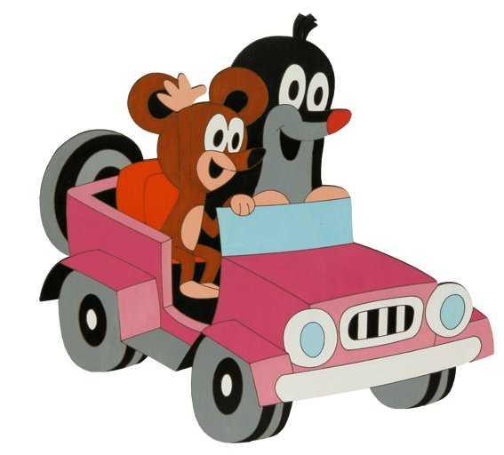 DoDo Velká dřevěná dekorace Krtek v autě