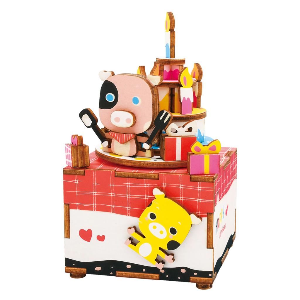 RoboTime 3D skládačka hrací skříňky Narozeninová prasátka