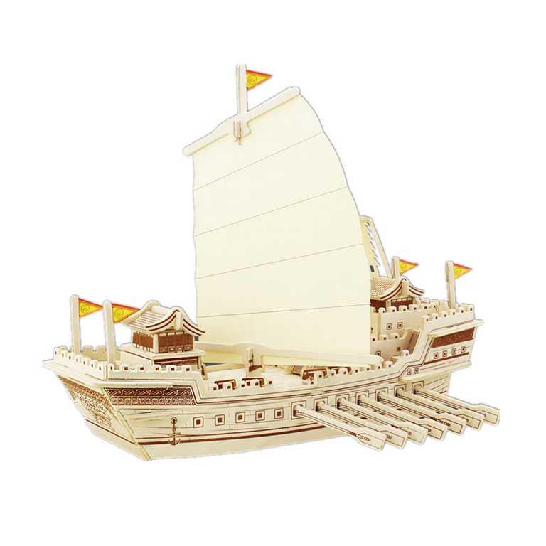 Dřevěné skládačky 3D puzzle - Dřevěný koráb Tower