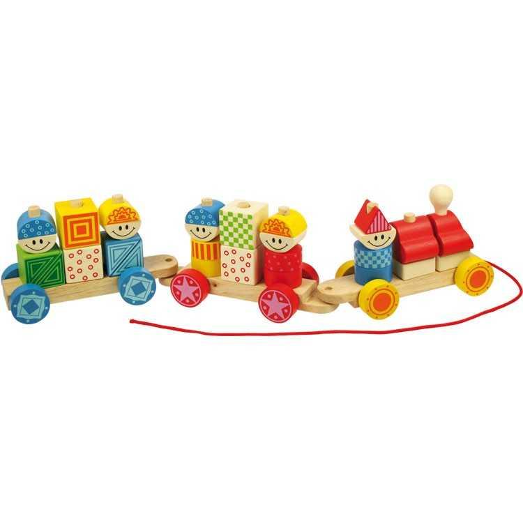 Bigjigs Toys dřevěný vláček s nasazováním
