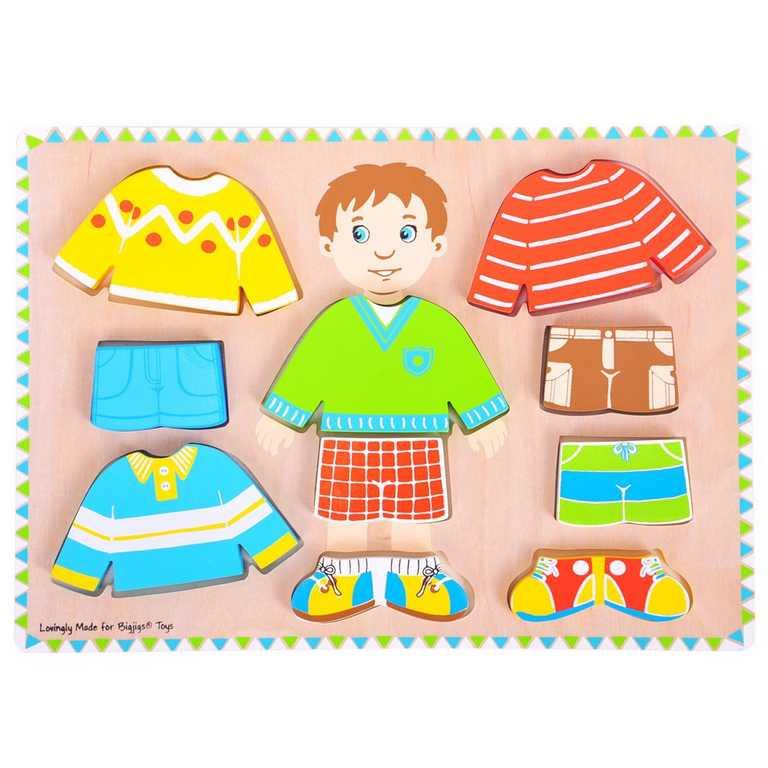 Bigjigs Toys oblékací puzzle kluk - tloušťka puzzle 2cm