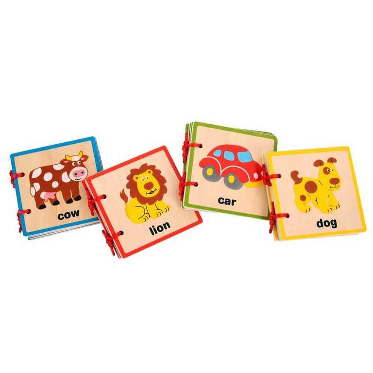 Dřevěné hračky - Anglická obrázková knížka 4 motivy