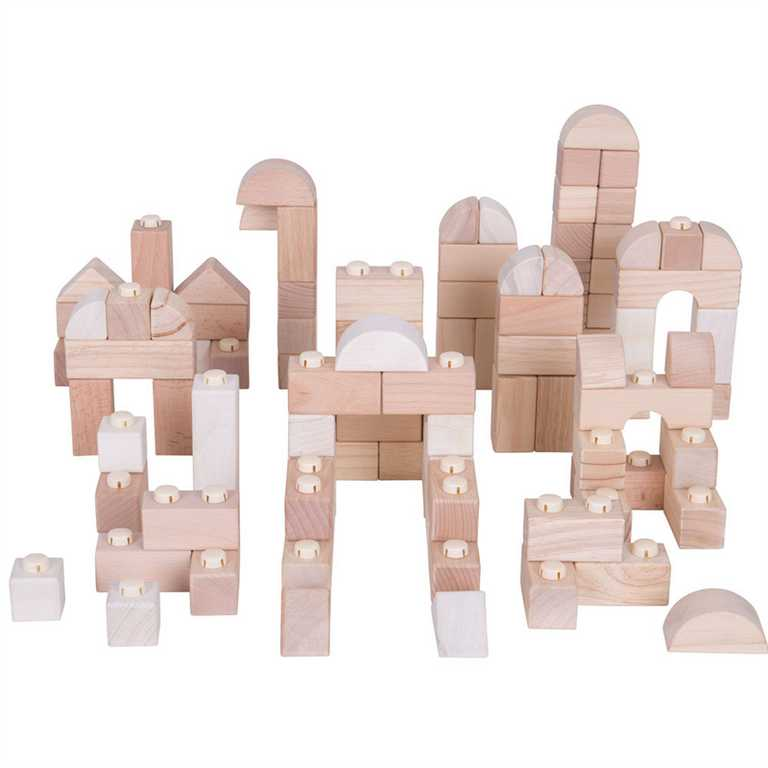 Bigjigs Baby Dřevěné Spojkostky - Natur set 100 kusů