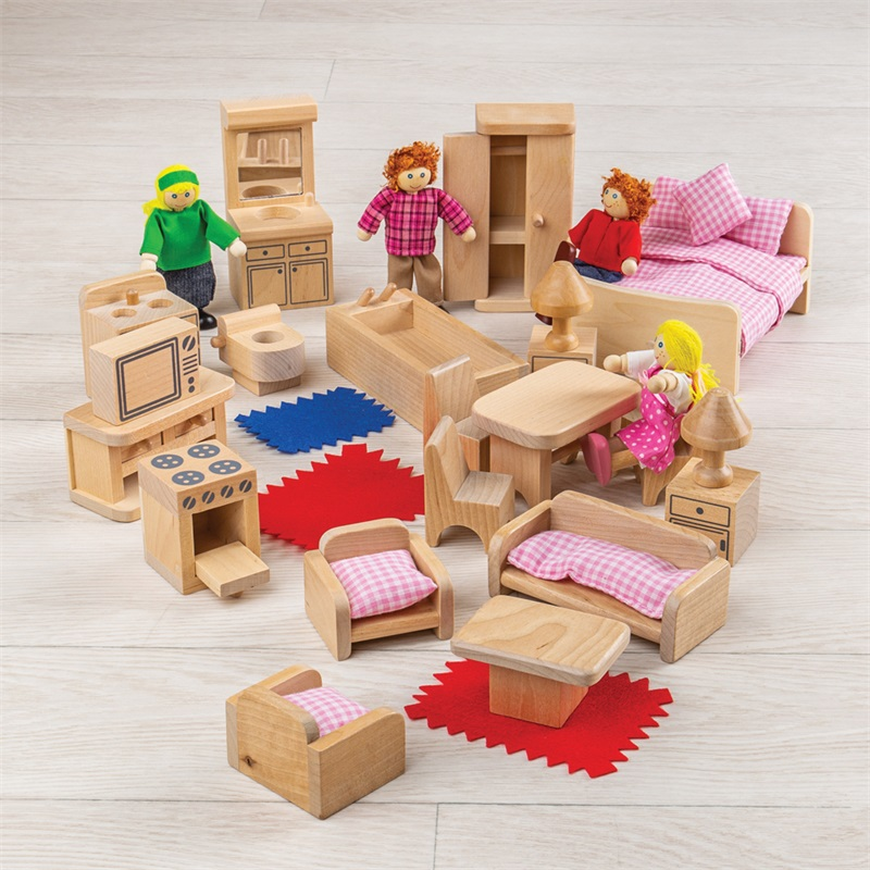 Bigjigs Toys Sada nábytku do domečku a postaviček rodiny